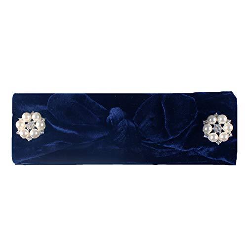 WFZ17 Serre-tête noué en fausse perle Couleur unie Motif oreilles de lapin bleu marine