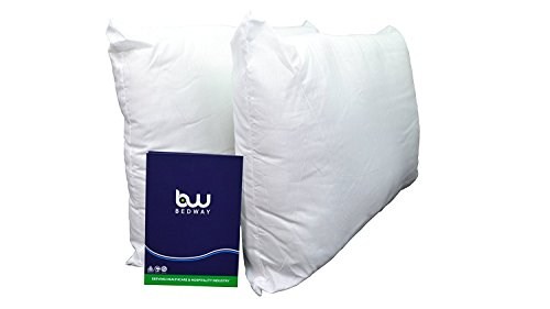 BEDWAY FLAME RETARDANT PILLOW PAIR 100% Cotton Outer Fire Retardant Pillows, Anti Allergy Hollowfibre Filling | BS SOURCE 5 Certified