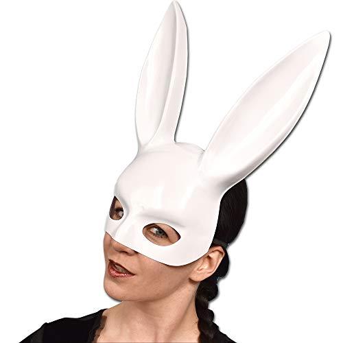 Sexy Bunny halfmasker met lange oren voor carnaval wit