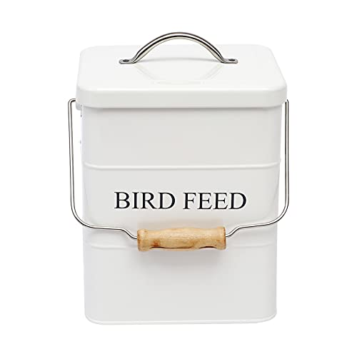 Morezi Bird seed and feed storage tin with lid Included - white-coated carbon steel - tight fitting lids - storage canister tins - White
