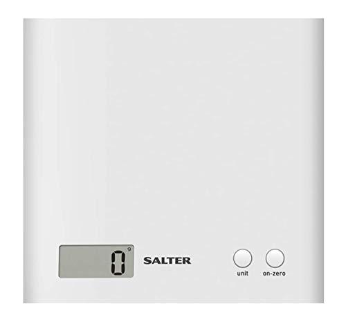 Salter 1066 WHDR15 Balanza de cocina electrónica - capacidad de 3 kg, plástico, blanco, 18 x 17.8 x 2.5 cm