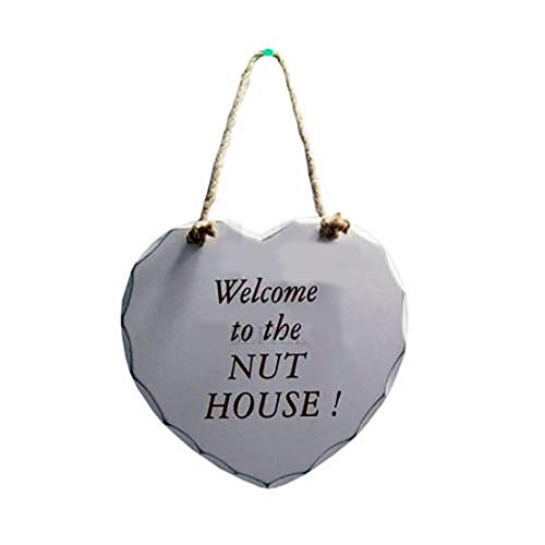 Hanging Wooden Heart Shaped Plaque Sign Message Decoration Gift Door Wall (Welcome to The Nut House)