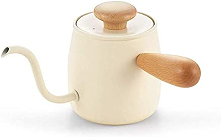Mini Coffee Pot 304 Stainless Steel 400ml Large Capacity Fine Mouth Pot Wooden Handle Dripper Suitable For Home Restaurant Cafe Etc. jsmhh (Color : Beige)