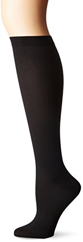 Dr. Scholl's Women's Travel Knee High Socks with Graduated Compression, Solid Black, Shoe Size: 8-10