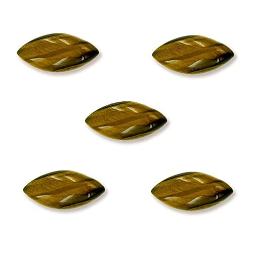Gemsonclick NATURAL TIGER EYE 5 Stücke kalibriert Lose Edelstein Lot in Marquise Form Cabochon Schmuck Birthstone 9x18 mm