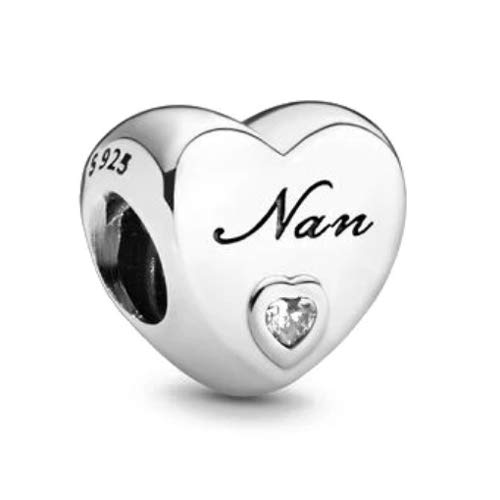 EMELIES Family Heart Charms. A Perfect Charm for your Mum, Dad, Daughter, Sister, Auntie, Cousin, Nan, Wife, Girl Friend and Best Friend. Charm Fits Pandora & All European Bracelets (Nan)