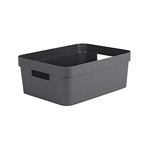 EDA PLASTIQUE Boîte de Rangement Decor Stone Anthracite - 12 L