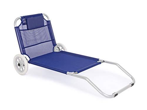 Chariot de plage en aluminium et textilène bleu modèle Ocean