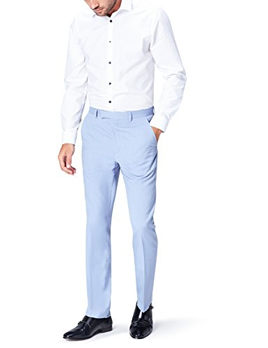 Amazon-Marke: find. Herren Anzughose mit Struktur, Blau (Pale Blue), 34W / 32L, Label: 34W / 32L