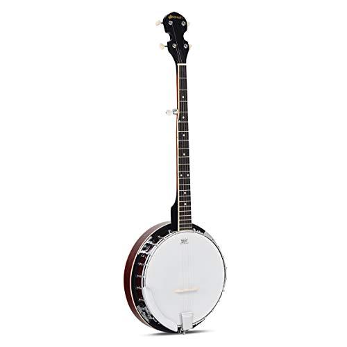 COSTWAY 5-saitiges Banjo 39 Zoll mit Reinigungstuch, Stimmgerät, Gurt, Saiten, Tasche, 3 Plektren