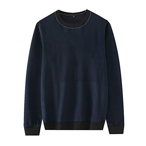 U/A Jersey de cuello redondo para hombre de manga larga y manga larga para hombre Azul azul 3XL