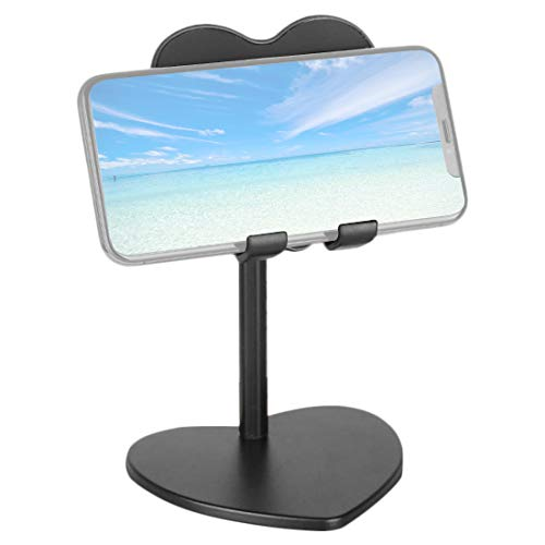 Adjustable Cell Phone Stand, Angle Height Adjustable Aluminum Mount Dock, Compatible with iPhone, Cell Phone, Tablet, iPad, Nintendo Switch, Kindle, Up to 13 Inch Screen (Black)