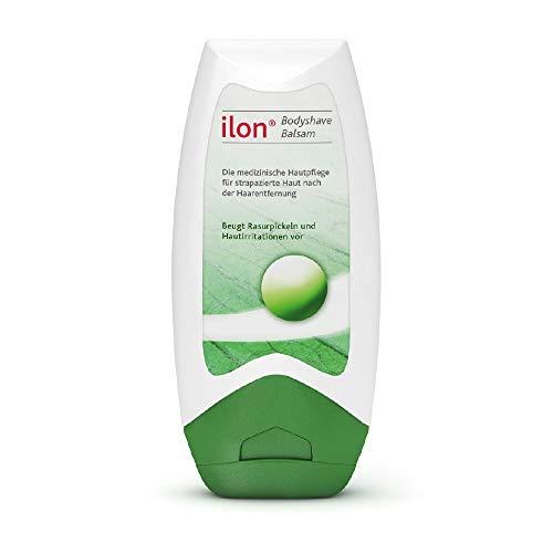 ilon Bodyshave Balsam - natürlicher Hautpflegeschutz nach jeder Haarentfernung. Durch regelmäßige Pflege der Haut nach der Rasur, der Epilation oder dem Wachsen mit ilon Bodyshave Balsam beugen Sie Hautirritationen und Rötungen vor