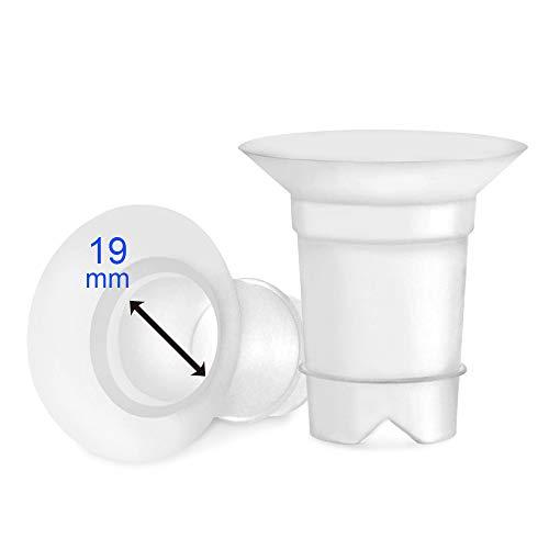 Maymom Juego de bridas de 19 mm para Medela y escudo/brida Spectra de 24 mm. Para uso con Medela, Freestyle, Harmony y Sonata para reducir el canal de pezón de 24 mm a 19 mm. 2 unidades.
