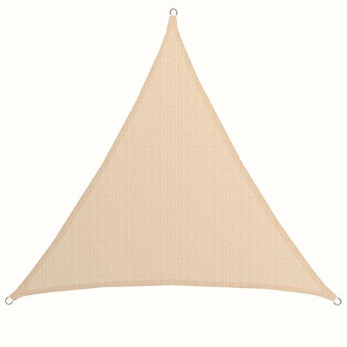AMANKA Tenda da Sole UV - 5x5x5 m Triangolo HDPE - Telo di Protezione Solare Balcone Giardino Beige