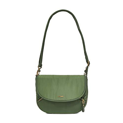 Pacsafe Stylesafe Crossbody Umhängetasche, kleine Anti-Diebstahl Tasche für Damen, Schultertasche mit Diebstahlschutz, Sicherheits-Features - 4 Liter, Uni, Grün/Kombu Green