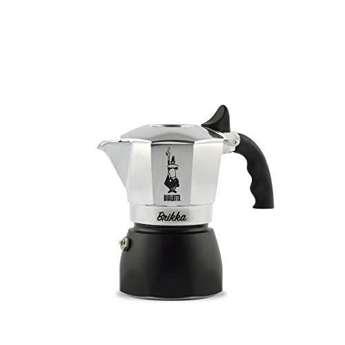 Bialetti New Brikka Caffettiettiera in Alluminio per Caffè con Doppia Crema, 80 milliliters, Argento