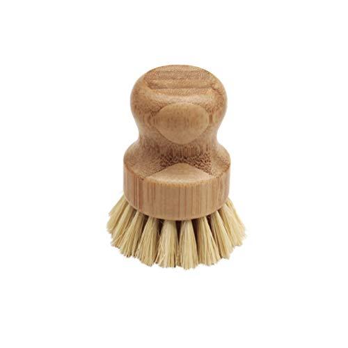 Kitchen Cleaning Brush Sisal Palm Bamboo Short Handle Round Dish Brush Bowl Pot Brush High Quality Durable Cleaning Brush
