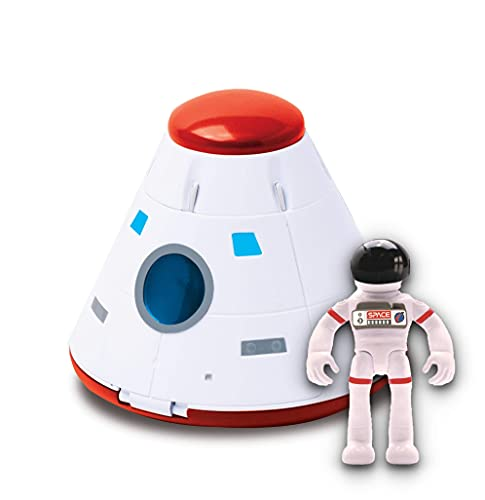Astro Venture Space Capsule Toy - Plastic White Spacecraft Toy for Kids with Lights, Astronaut Figure and Openable Door - Fun Toy for Any Outer Space Mission & Adventure