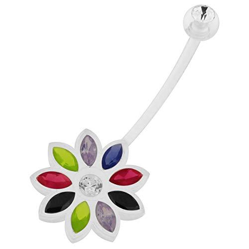 Blau, hellgrün, schwarz, rot und Lavendel CZ Stein Blume Design klar Bio Flexible Schwangerschaft Bauchnabel Piercing Schmuck