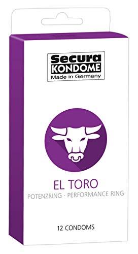 Secura El Toro 12er Kondome - 12 Präservative zur Verhütung ohne Hormone für Männer, integrierter Potenzring, längere Erektion