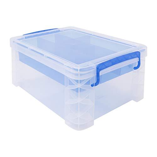 "Advantus Super Stacker Storage Case, 6.5"" x 10.3"" x 14.3"", Clear, Blue"