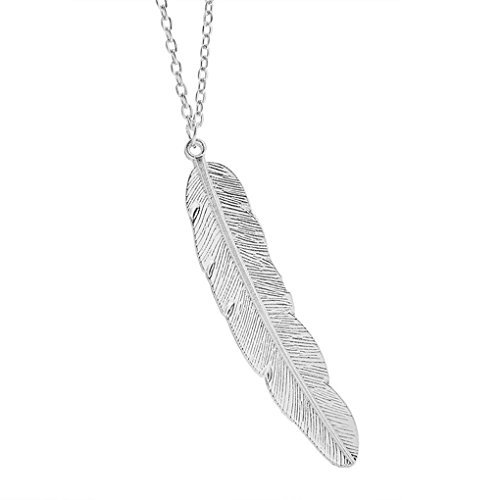 Xiang Simple Style Metal Leaf Feather Design Pendant Sweaters Long Necklace