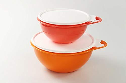 Tupperware Maximilian Rührschüssel 2,75L orange + 1,4L Pastellrot Schüssel 36764