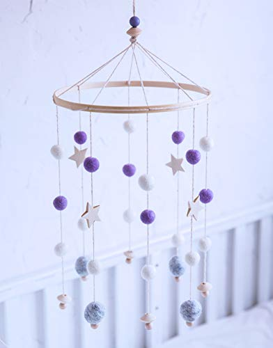 let's make Baby Crib Mobile, Felt Ball Mobile Nursery - Techo Móvil Campanas de Viento Cama Campana Sonajero Juguetes Adornos Colgantes para Bebé (Púrpura)