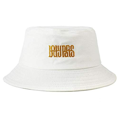Bucket Hat Chapeau Seau Chapeau Lettre Unisexe Hip Hop Voyage en Plein Air Pêcheur Casquettes De Soleil Été Chapeau De Soleil Chapeaux De Voyage pour Adolescents Filles Blanc