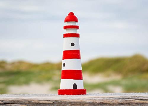Kleiner Deko Leuchtturm, rot weiß Maritime Dekoration