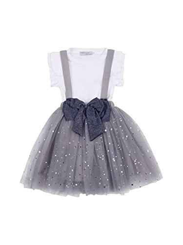 Mini Vestidos Largos Casuales para bebés, Top Blanco de Manga Corta, Falda de Tul con Correa de Pajarita Regalo para bebé Princesa Vestido Formal de Verano de 2 a 8 años. (Gris, 5-6años)