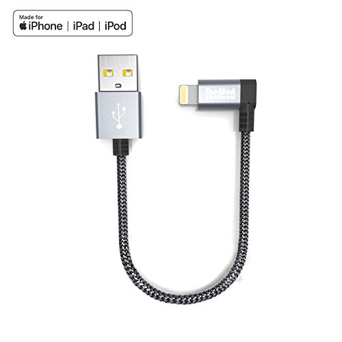 Tecmad Ladekabel Compatible with 90 Grad Winkel Stecker Nylon Lightning Datenkabel [ MFi zertifiziert]  Kabel für iphone XS Max XR X 8 7 6s 6 Plus 5S, ipad Air 2 Pro [Grau 0.2m]-TMLC0001