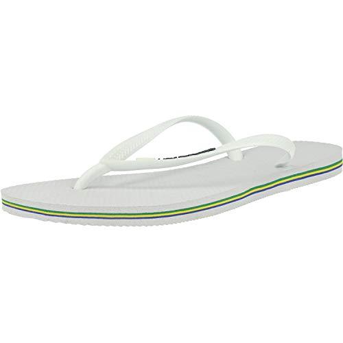 Havaianas Slim Brasil Logo, Chanclas para Mujer, Blanco (White), 37/38 EU