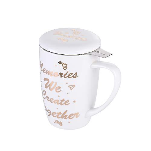 LOVECASA Taza de Te Porcelana, Mug Infusión con Filtro y Tapa, Personalidad Regalo Diseño con Frases 450 ML
