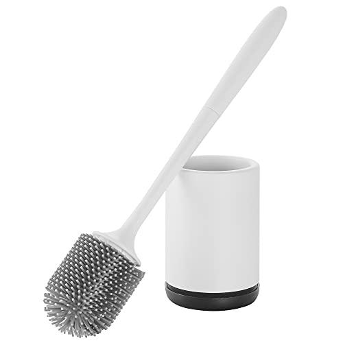 Hoomtaook Escobilla WC Silicona Soporte de Secado Rápido Soporte de Escobillas de Baño Silicona PP Resistente a la Suciedad Material TPR de Cerdas (Montaje en Suelo o Montaje en Pared) Blanco & Negro