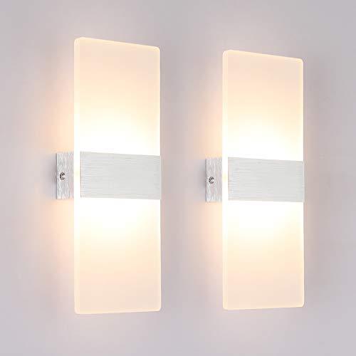 Klighten 2 Stück Wandleuchte LED Innen 12W Wandlampe Acryl Wandbeleuchtung Modern für Wohnzimmer Treppenhaus Schlafzimmer Flur Korridor Warmweiß 3000K