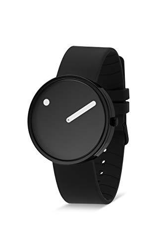Picto Unisex-Quarzuhr, 40 mm, schwarzes Gehäuse mit schwarzem Zifferblatt und schwarzem Silikonarmband