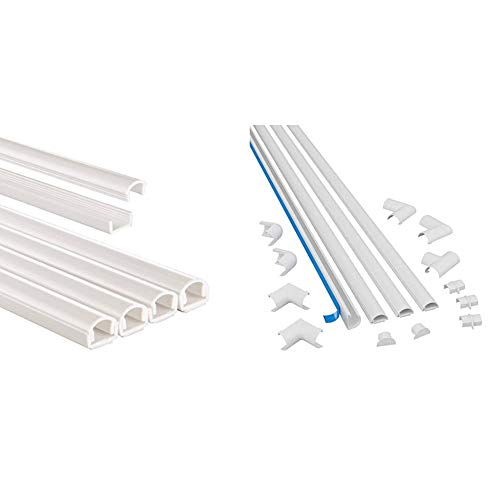 Hama Chemin de câble (Bande en PVC/Aluminium pour Montage Mural TV ou au Sol, 100 x 1,1 x 1 cm) Blanc & D-Line Kits de Goulottes | 2010KIT001 | Cachez et Protégez Les Câbles Facilement | Blanc