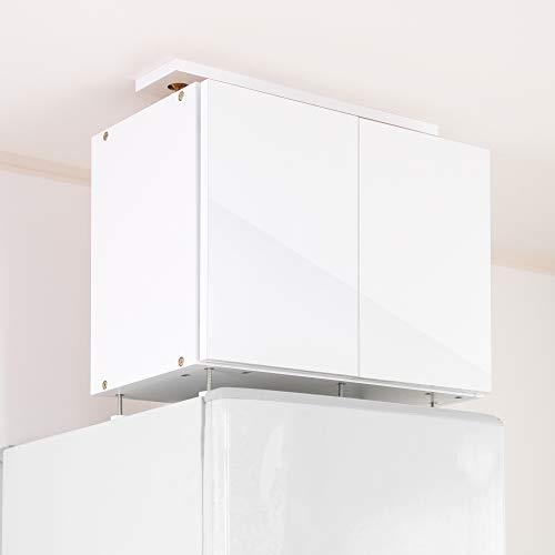 (JAJAN)冷蔵庫専用 耐震上置き新冷蔵庫上じしん作くん ハイタイプ ホワイト 対応隙間高53-64cm 鏡面扉 転倒防止 隙間収納 キッチン 地震対策