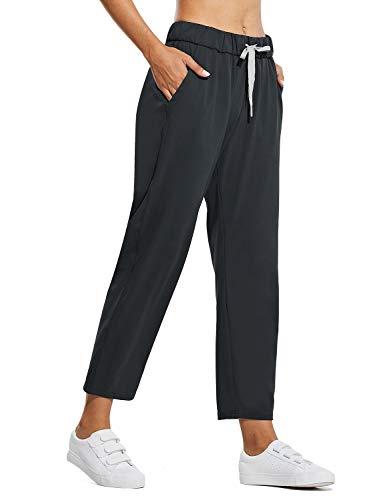 BALEAF Women's Hiking Travel Pants with Pockets Drawstring Elastic Waist Petite Tall Stretch Sweatpants 26 Inches Black XXL
