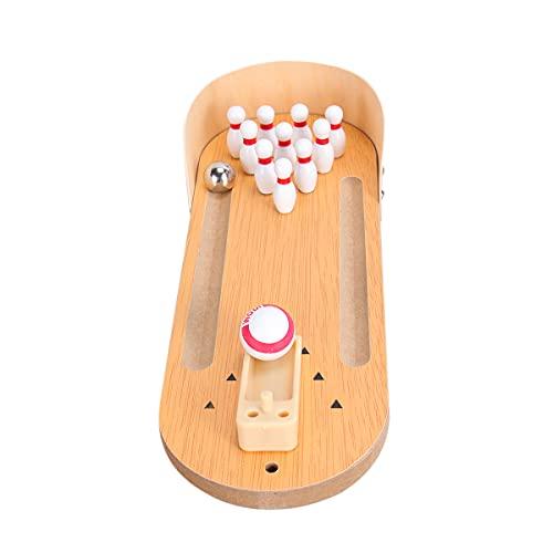ABOOFAN Mini juego de bolos de escritorio de madera, juego de bolos de mesa, juego de bola de escritorio clásico, juguete para aliviar el estrés y matar el tiempo para niños y adultos (tamaño L)