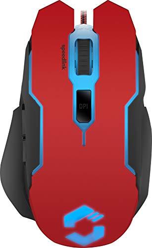 Speedlink CONTUS Gaming Mouse - 5 Tasten Maus für Büro, Home Office, LED Beleuchtung, Einstellbar bis 3200 dpi, Ergonomische Form,  für PC, Notebook, Laptop, schwarz-rot