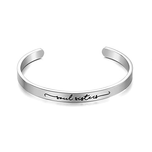 CERSLIMO Inspirational Bracelets for Women Girls Men Teens Friendship Gifts Cuff Encouragement Positive Quote Bangle Gifts for Best Friend(4/6/9/12mm)