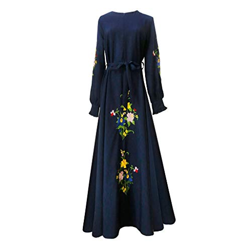 FZC-YM Embroidered Slim Women Muslim Long Dress, Fit Muslim Eastern Dress Arab Robe Muslim Trumpet Sleeve