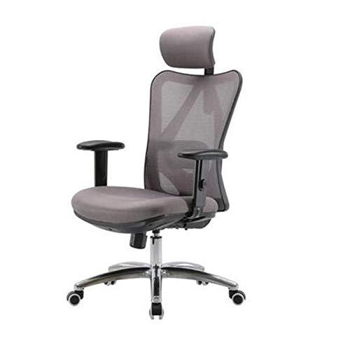 Silla de oficina, silla de computadora, silla de oficina, silla de jefe, silla ergonómica de oficina, con reposabrazos ajustables y respaldo, diseño de malla transpirable y cojines tapizados, gris