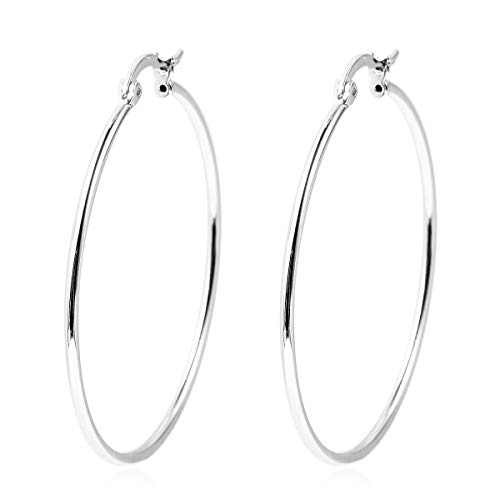 Elegant 925 Sterling Silver Unique Stylish Hoops Hoop Earrings for Women Gift Jewelry 4.4 g