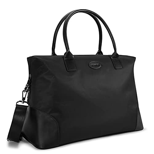 ECOSUSI Duffle Bag Weekender Bag Nylon Overnight Bag Travel Tote Carry On Bag with Trolley Sleeve for Travel, Sports, Black