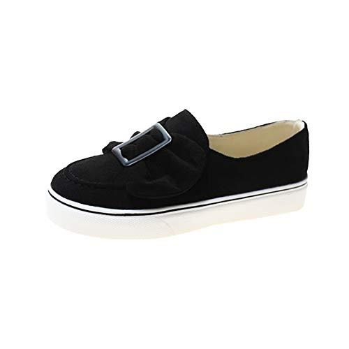 H/A Zapatos deportivos casuales para mujer, patrón de lazo, base gruesa, transpirable, cómodo, antideslizante, para interiores y exteriores, yoga, ocio, mocasines, Black, 38 EU