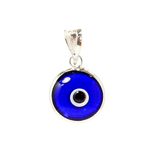 10 MM Glas Evil Eye Charm Anhänger in 925 Sterling Silber - 14 Farben erhältlich (Transparent Blue)